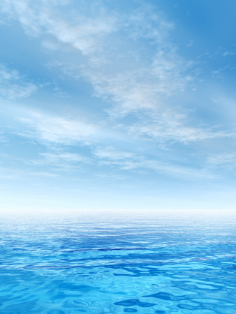 Conceptual sea or ocean water waves and sky cloudscape exotic or paradise background