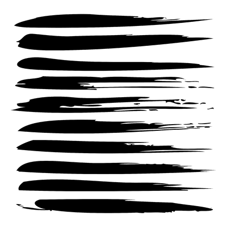 mess: Collection or set of black paint hand made creative brush strokes isolated on white background
