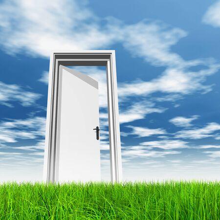 door knob: Conceptual white door in green grass with sky background