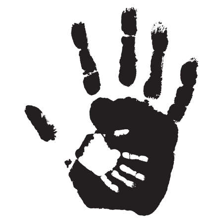 child protection: Concept or conceptual cute black paint hand of mother child handprint isolated on white background