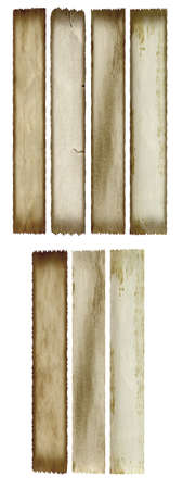 torn: Conceptual old vintage dirty or grungy paper background set or collection isolated on white background