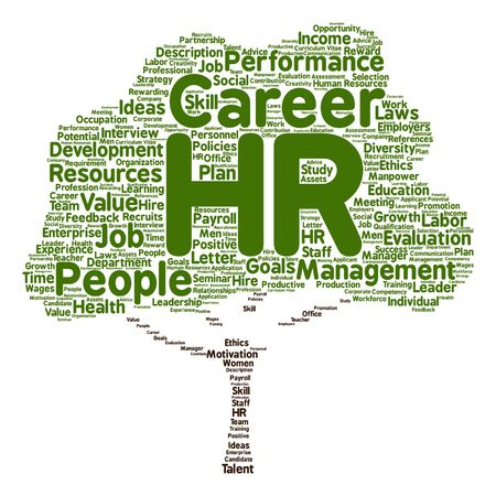 manpower: Vector concept conceptual hr or human resources tree word cloud isolated on background