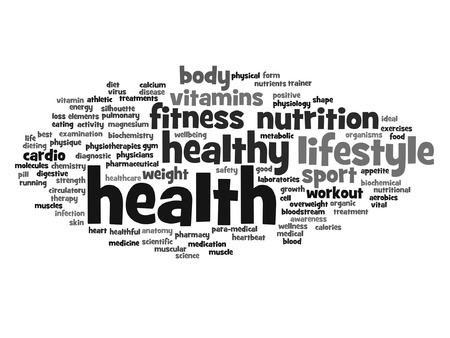 Vector concept or conceptual abstract word cloud on white background, metaphor to health, nutrition, diet, wellness, body, energy, medical, fitness, medical, gym, medicine, sport, heart science