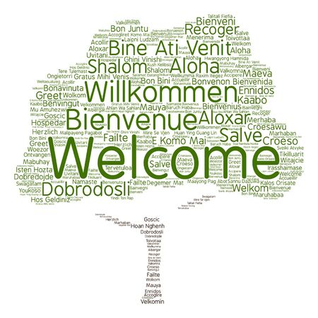 Vector concept or conceptual welcome or greeting international tree word cloud in different languages or isolated Çizim