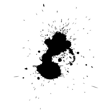 dirt: Vector artistic black paint hand made creative wet dirty ink or oil drop spots silhouette isolated on background