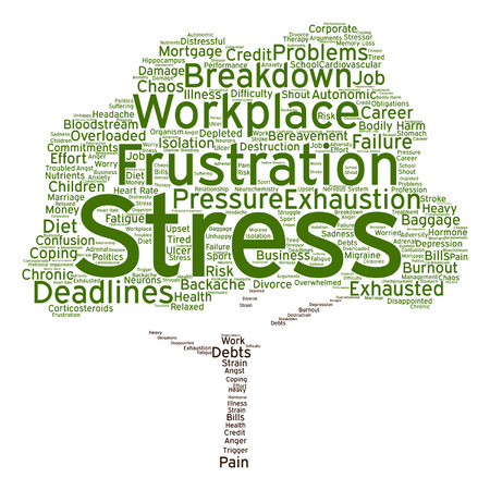Vector conceptual mental stress at workplace or job tree word cloud isolated on background Illustration