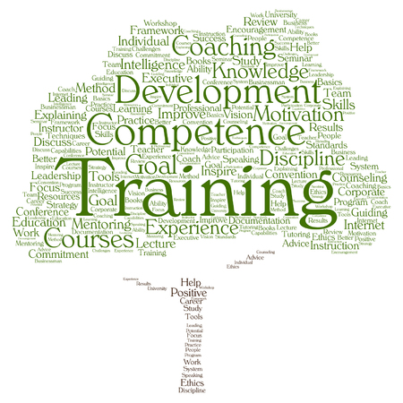 career coach: Vector concept or conceptual training, coaching or learning, study tree word cloud isolated on background