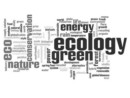 word clouds: Concept or conceptual abstract green ecology or energy and conservation word cloud text isolated on white background