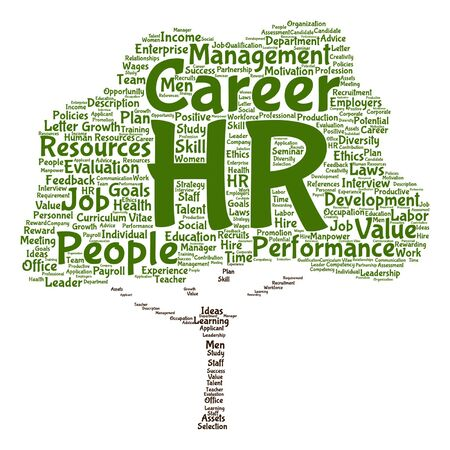 Vector concept conceptual hr or human resources tree word cloud isolated on backdrop