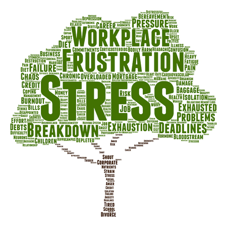 transactional: Vector conceptual mental stress at workplace or job tree word cloud isolated backdrop