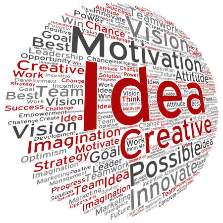 Vector concept or conceptual abstract creative business word cloud on white backdrop