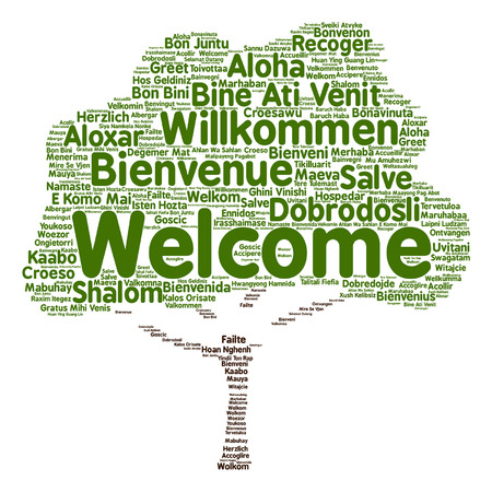 Vector concept or conceptual greeting international tree word cloud in different languages or isolated