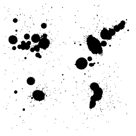 Collection or set of 4 artistic black paint hand made creative wet dirty ink drop spots silhouette isolated on background Stock Photo