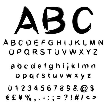 개념 또는 개념 집합 또는 흰색 배경에 고립 된 검은 색 필기, 스케치 또는 낙서 페인트 글꼴의 컬렉션 스톡 콘텐츠
