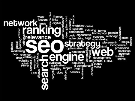 Vector concept or conceptual search engine optimization, seo abstract word cloud isolated on background, metaphor to marketing, web, internet, strategy, online, rank, result,  network, top, relevance