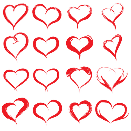 Vector concept or conceptual painted red heart shape or love symbol set or collection, made by a happy child at school isolated on white background Ilustrace