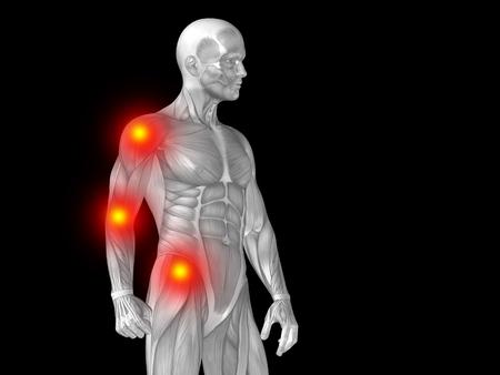 Conceptual 3d Illustration Human Man Anatomy Upper Body Health