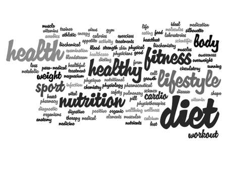 health and fitness: Vector conceptual health or diet word cloud concept isolated on background Illustration