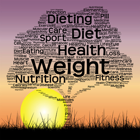 health and fitness: Vector conceptual health tree at sunset  word cloud with sun and grass Illustration