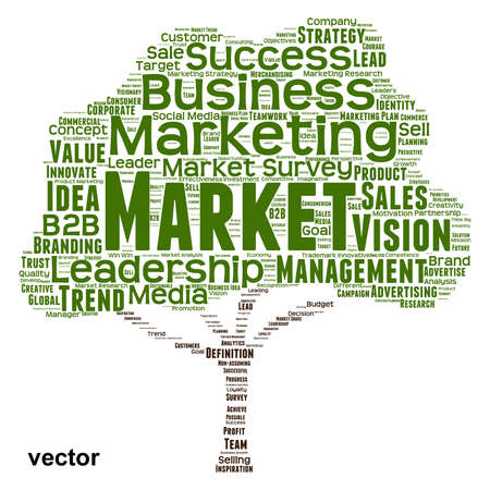 Vector concept or conceptual green tree word cloud or wordcloud on white background as metaphor to business, trend, media, focus, market, value, product, advertising, leadership customer or corporate Illustration