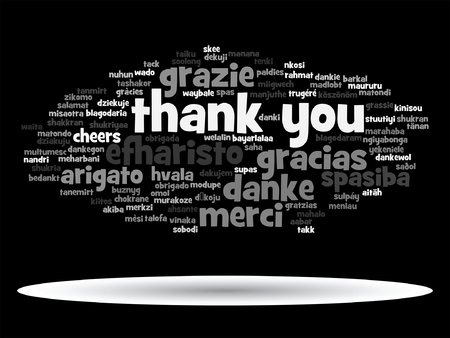 Vector concept or conceptual abstract thank you word cloud in different languages or multilingual for education or thanksgiving day, metaphor to appreciation, multicultural, friendship, tourism travel Stok Fotoğraf - 79628565