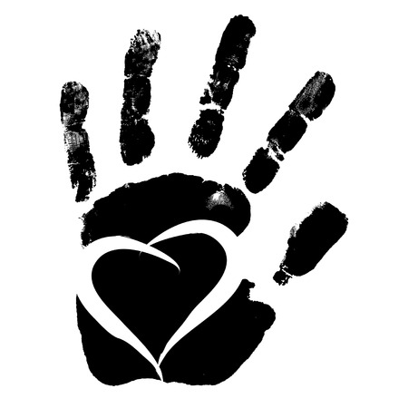 Vector concept conceptual cute paint human hand or handprint of child with heart shape isolated on white background