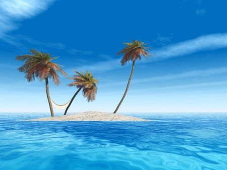 Conceptual 3D isolated exotic island with palm trees with a hammock and sand in the sea or ocean over blue sky background