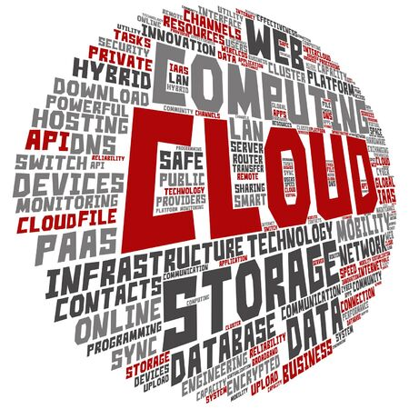 tagcloud: Vector concept conceptual web cloud computing technology abstract round wordcloud isolated on background metaphor to communication, business, storage, service, internet, virtual, online, mobility hosting