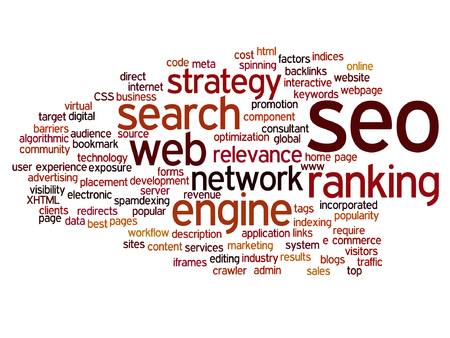 website words: A vector concept or conceptual search engine optimization, seo abstract word cloud isolated on background, metaphor to marketing, web, internet, strategy, online, rank, result,  network, top, relevance