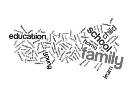 love strategy: Concept or conceptual education abstract word cloud, white background, metaphor to child, family, school, life, learn, knowledge, home, study, teach, educational, achievement, childhood or teen Stock Photo
