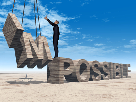 Concept conceptual 3D business man standing over abstract stone impossible text on sky background, metaphor to success, career, work, job, achievement, development, growth, progress, vision, possible