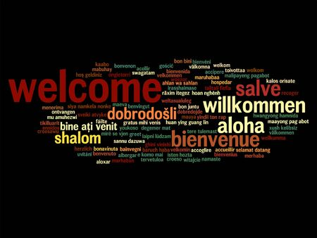 tagcloud: Vector concept or conceptual abstract welcome or greeting international word cloud in different languages or multilingual, metaphor to world, foreign, worldwide, travel, translate, vacation or tourism