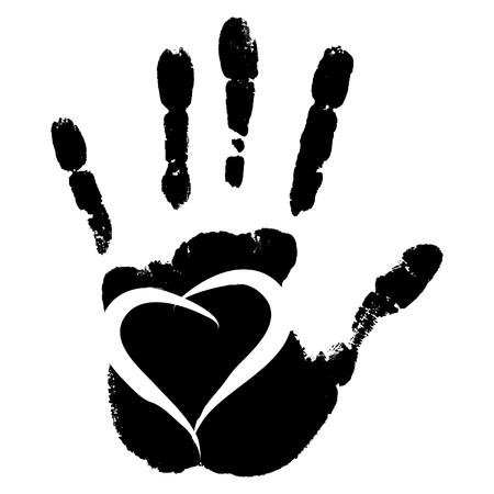 vector concepto conceptual mano humana pintura lindo o huella de la mano del niño con forma de corazón aislado en el fondo blanco