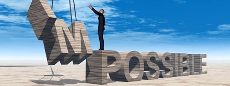 philosophic: Conceptual 3D business man standing over abstract stone impossible text over sky banner