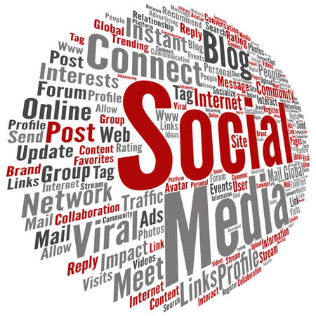 technology collage: Concept conceptual social media marketing or communication abstract round word cloud isolated on background metaphor to networking, community, technology, advertising, global worldwide tagcloud