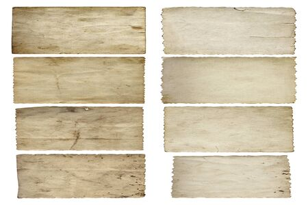 ragged: Conceptual old vintage dirty or grungy paper background set or collection isolated on white background