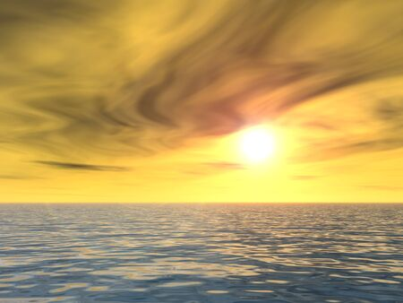golden dusk: 3D conceptual sunset or sunrise background with the sun close to horizon and sea or ocean