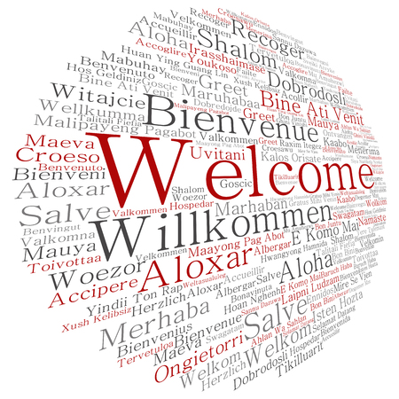 tagcloud: Concept or conceptual abstract welcome or greeting international round word cloud in different languages or multilingual, metaphor to world, foreign, worldwide, travel, translate, vacation or tourism Stock Photo