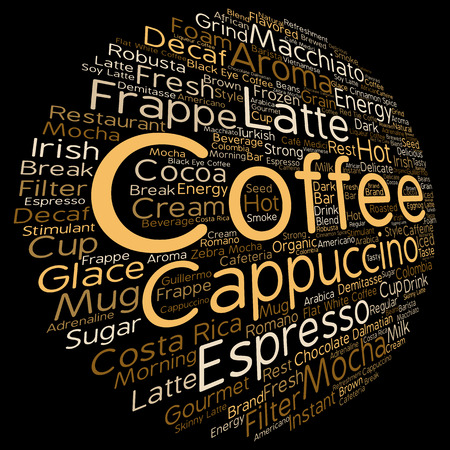macchiato: Concept conceptual creative hot coffee, cappuccino or espresso abstract round word cloud isolated on background metaphor to morning, restaurant, italian, beverage, cafeteria, break, energy or taste