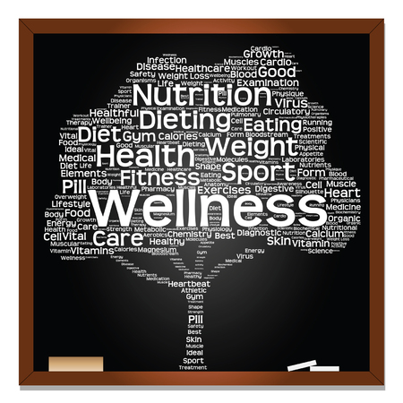 physique: Vector concept or conceptual blackboard health or diet green text word cloud or tagcloud tree isolated on black background Illustration