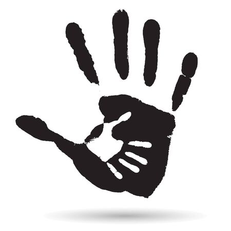 parenthood: Vector concept or conceptual cute black paint hand of mother child handprint isolated on white background