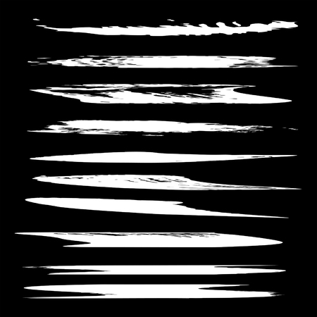 clutter: Vector collection or set of white paint hand made creative brush strokes isolated on black background