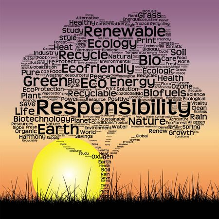 cultivate: Vector conceptual ecology tree at sunset  word cloud with sun and grass Illustration