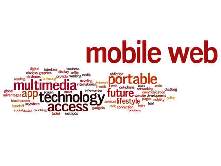 website words: Concept or conceptual mobile web portable multimedia technology word cloud isolated on background