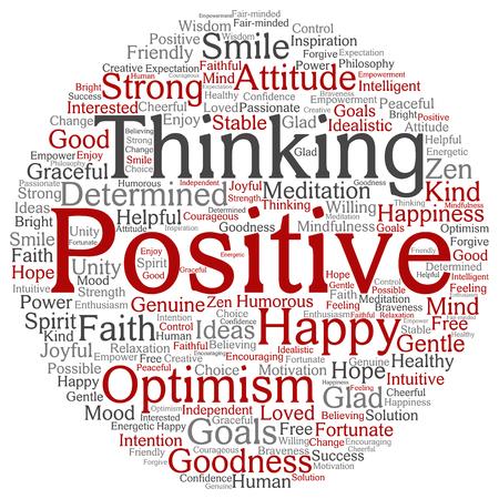 Concept of conceptueel positief denken, gelukkige sterke houding woord wolk geïsoleerd op achtergrond Stockfoto - 80644047