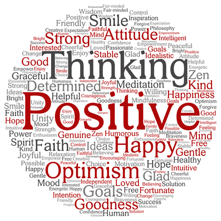 Concept or conceptual positive thinking, happy strong attitude word cloud isolated on background Banco de Imagens - 80644047