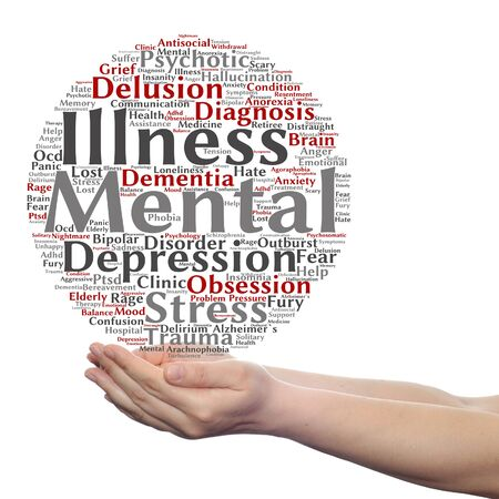 delusion: Concept conceptual mental illness disorder management or therapy  word cloud in hands isolated Stock Photo