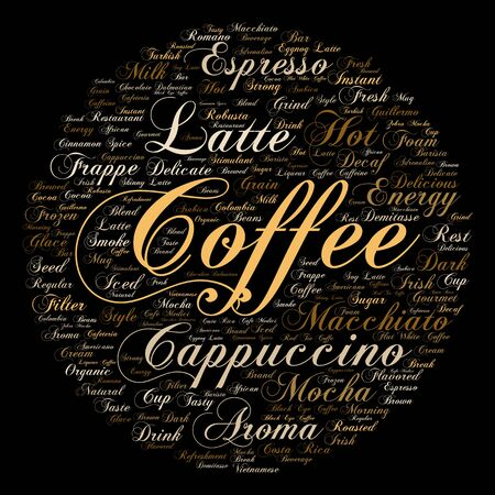 coffee beans: Concept conceptual creative hot coffee, cappuccino or espresso abstract word cloud isolated