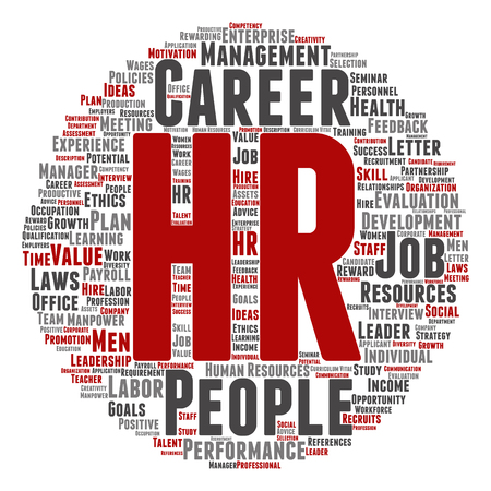 evaluate: Concept conceptual hr or human resources management abstract word cloud isolated on background metaphor to workplace, development, career, success, hiring, competence, goal, corporate or job
