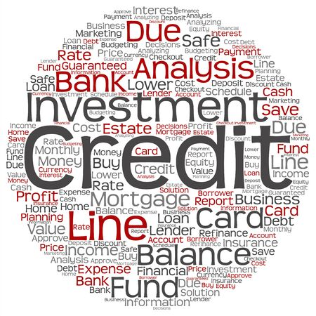 quantity: Concept or conceptual credit card line investment balance word cloud isolated on background